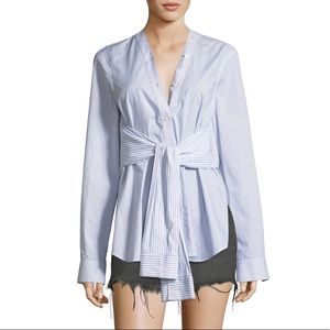 alexander wang • tie front long sleeve button up